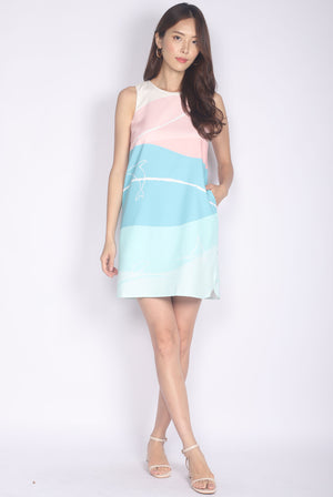Whale Curve Slit Dress In Pastel Green