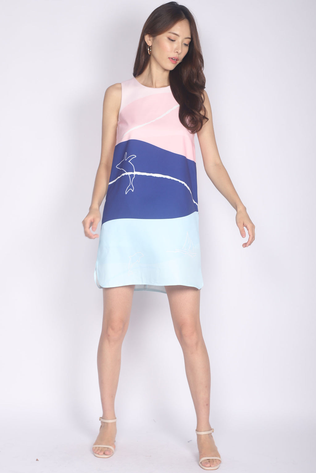 Whale Curve Slit Dress In Pastel Navy