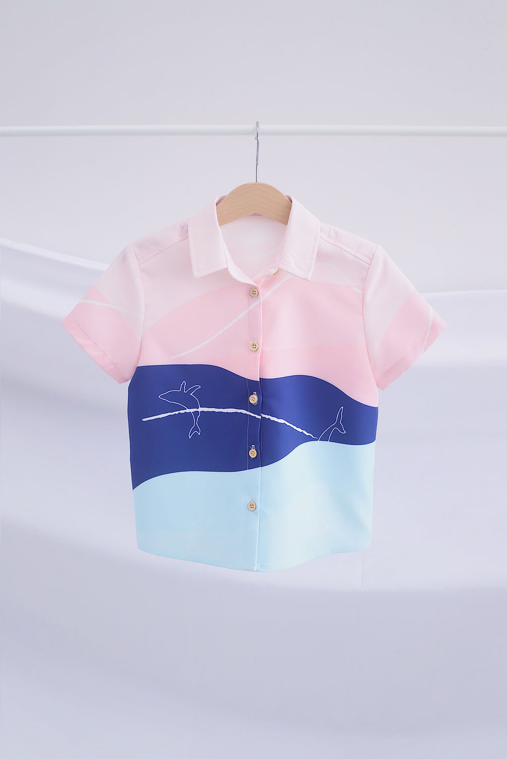 *Kids* Whale Shirt In Pastel Navy