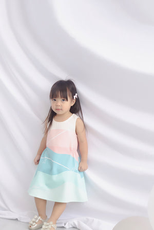 *Kids* Whale Elastic Dress In Pastel Green
