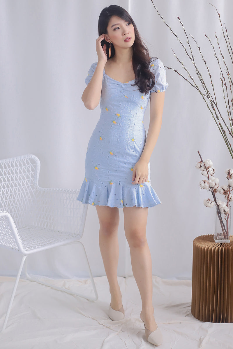 Whitney Embro Eyelet Puffy Sleeve Dress In Skyblue