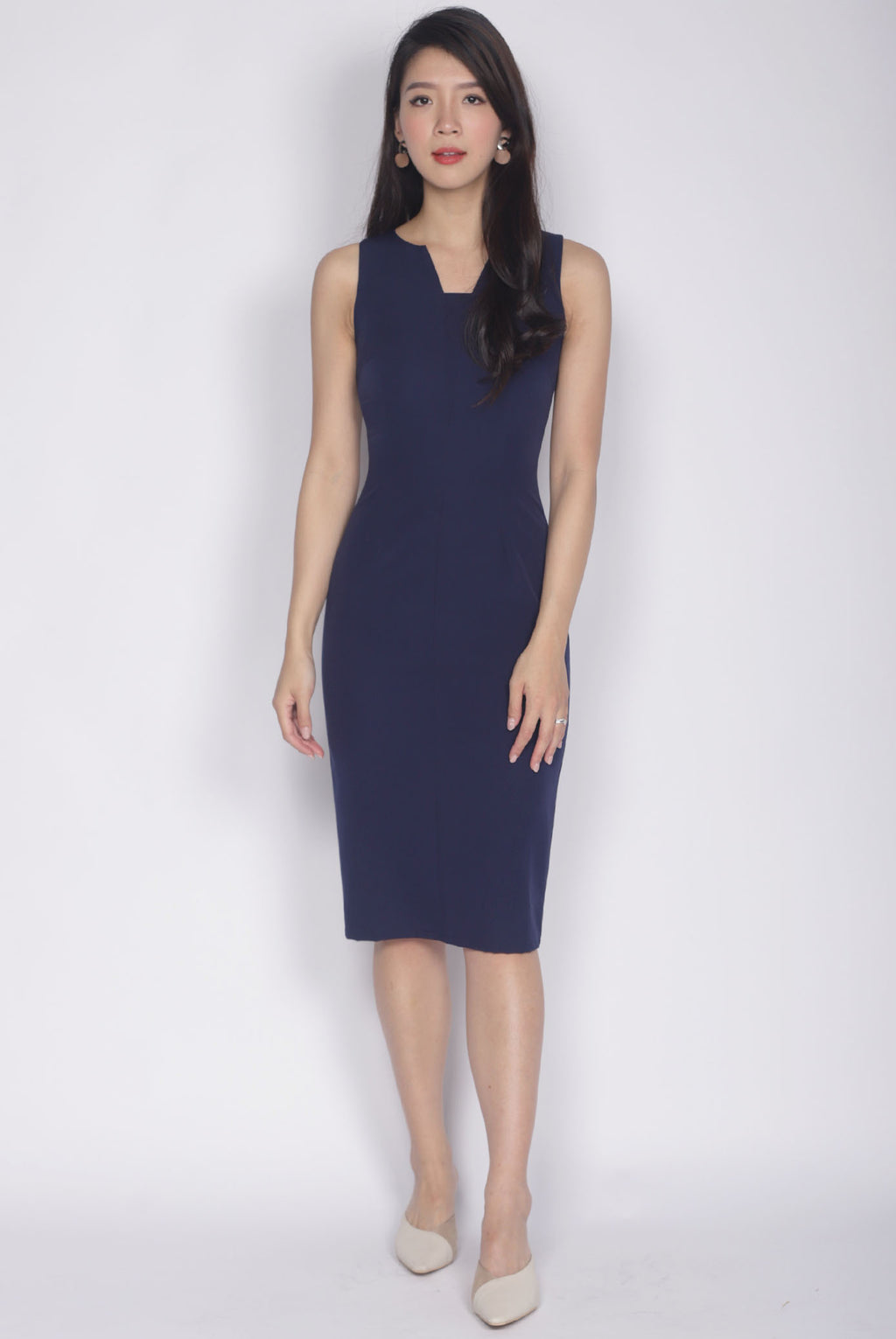 Wilsonia V Front Work Dress In Navy Blue