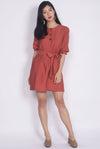 Winola Linen Buttons Sleeved Dress In Rust