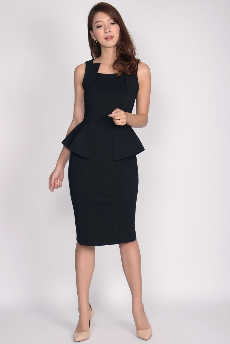 *Premium* Wisteria Peplum Asymm Neckline Dress In Black