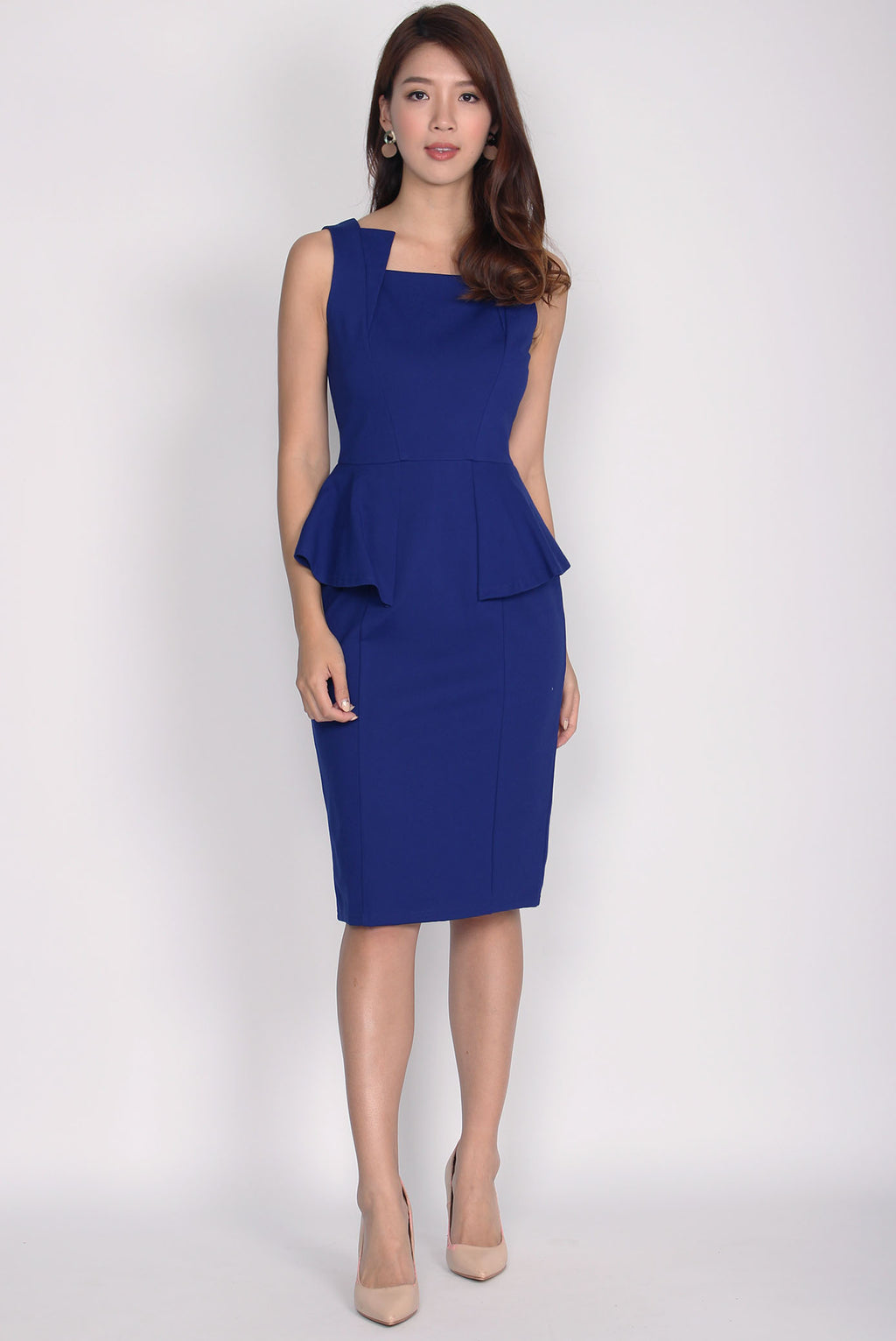 *Premium* Wisteria Peplum Asymm Neckline Dress In Blue