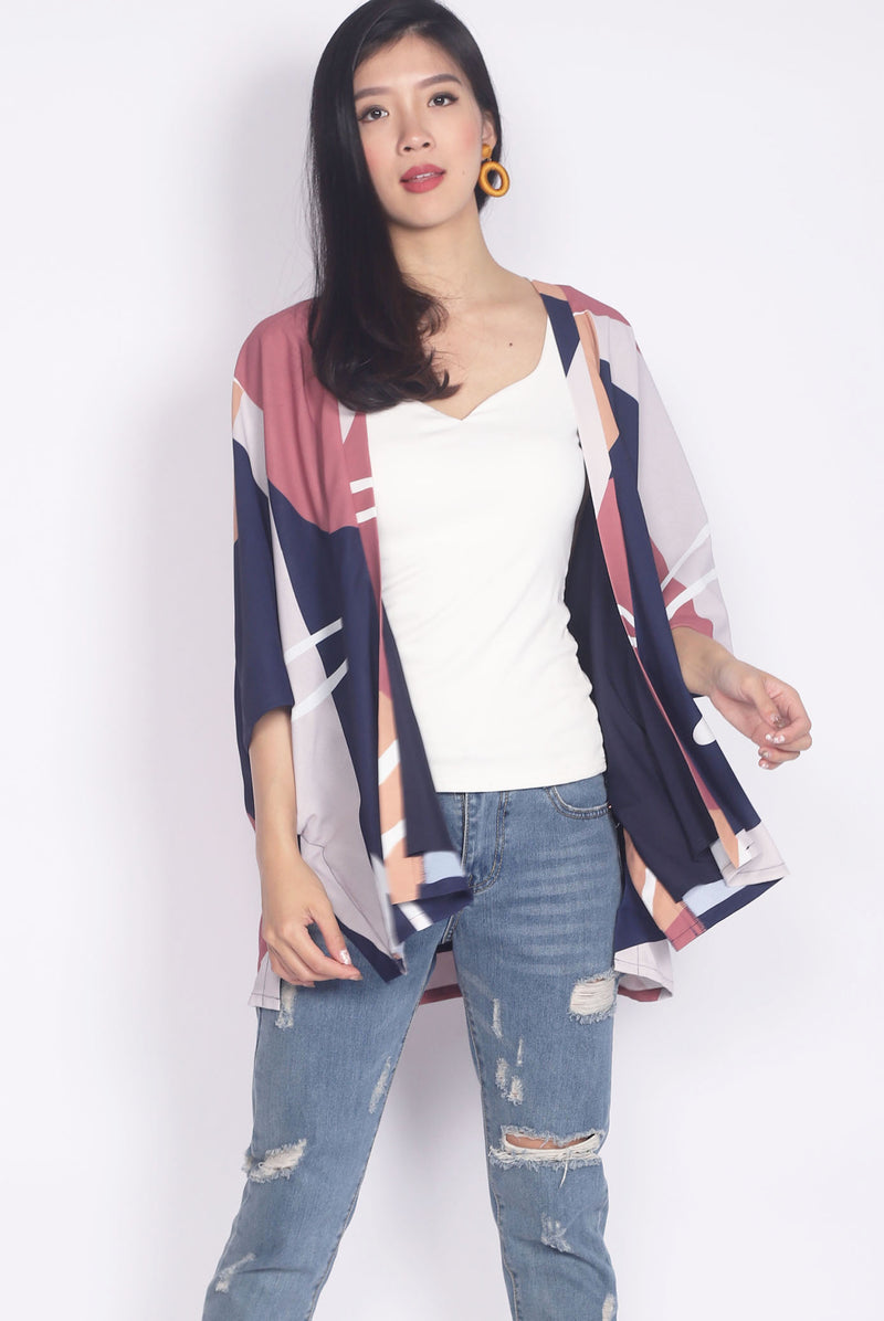 *BACKORDER* Yui Abstract Kimono Outerwear In Navy Blue