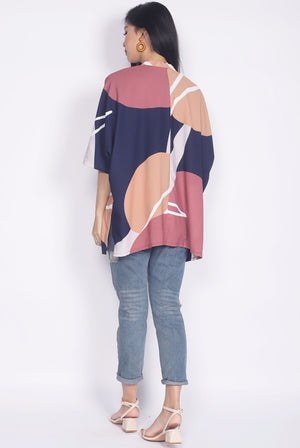 *Restocked* Yui Abstract Kimono Outerwear In Navy Blue