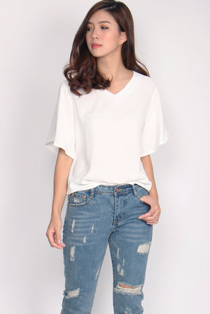 Yustina Flare Sleeve Top In White