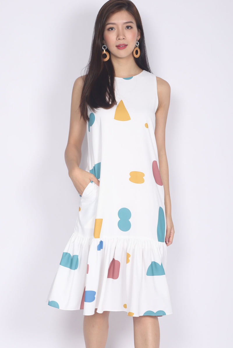 Yvette Abstract Drop Waist Dress In White
