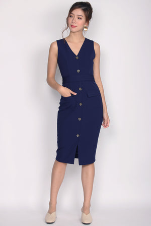 *Restock*Premium* Zora Buttons Work Dress In Navy Blue