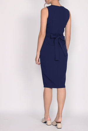 *Backorder*Premium* Zora Buttons Work Dress In Navy Blue
