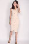 *Restock*Premium* Zora Buttons Work Dress In Cream