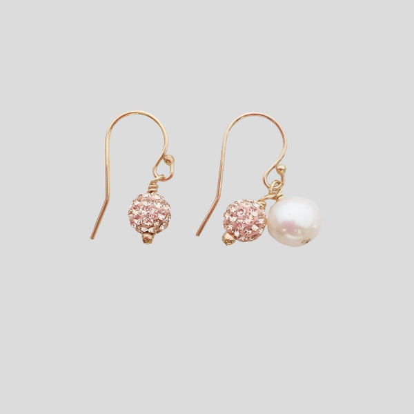 Pave Ball Earring with Pearl