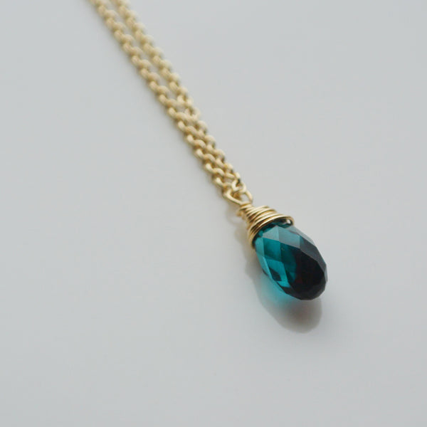 14K Gold Filled Necklace with blue crystal