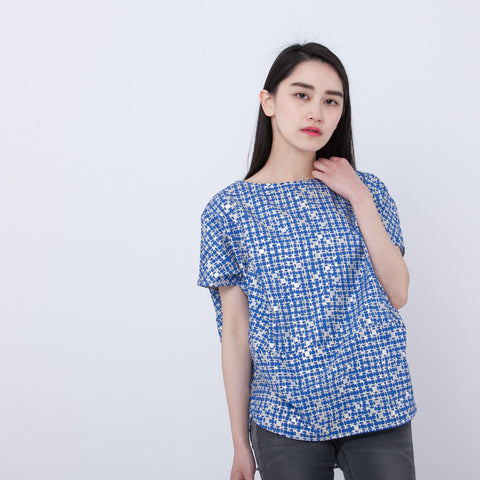 Demi top blue/silver