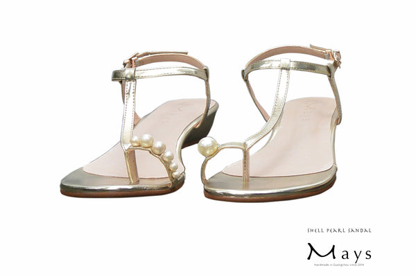 Pearl Sandal Metallic Gold