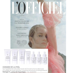 Evolue Skincare featured in L'Oficiel collagen serum eye cream