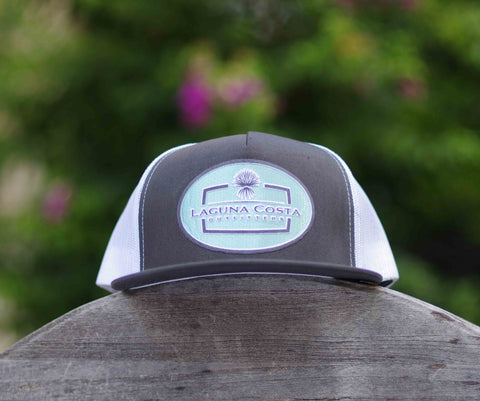 """El Patrón"" Flatbill High Crown Trucker Hat - CHARCOAL w/ Seafoam or Purple patch"
