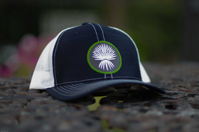 """El Sotol"" Trucker Mesh Patch Hat - ProCrown & curved bill: NAVY w/White mesh (choose patch)"