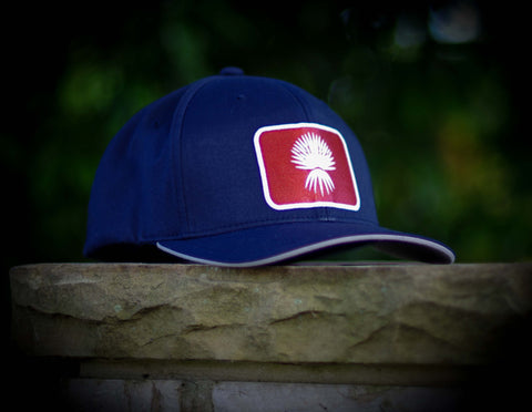 FlexFit Cool & Dry Performance Hat - NAVY with SQUARE Spanish Dagger Palm patch in orange
