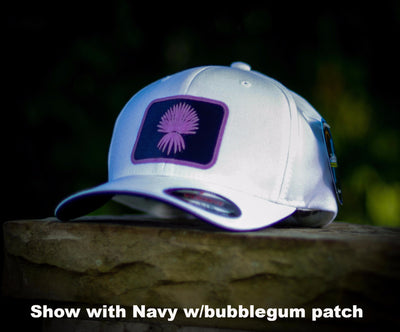 FlexFit Cool & Dry Performance Hat - WHITE with SQUARE Spanish Dagger Patch (CHOOSE PATCH)