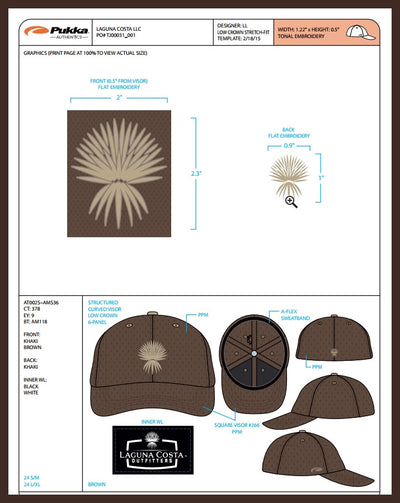 Spanish Dagger Palm - StretchFit Performance Hat - Brown w/Khaki embroidery