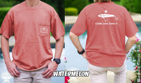 Come and Take it CORKY - Comfort Colors Pocket T-Shirt (WATERMELON w/WHITE)
