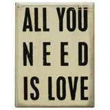 All You Need is Love (White) Primitives Box Sign