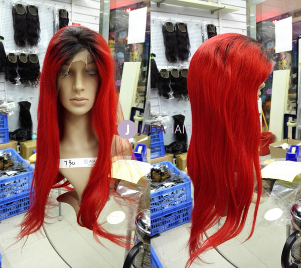 ombre lace front wig in red