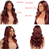 1B/99J Burgundy Ombre Human Hair Lace Front Wigs For Women Brazilian Remy Human Hair Dark Roots 2 Tone 130 Lace Wig Red Eseewigs