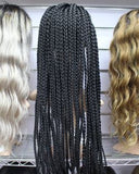 Braided Synthetic Lace Front Wig 30'' Natural Black 1B Heat Resistant Twist Wigs For African American