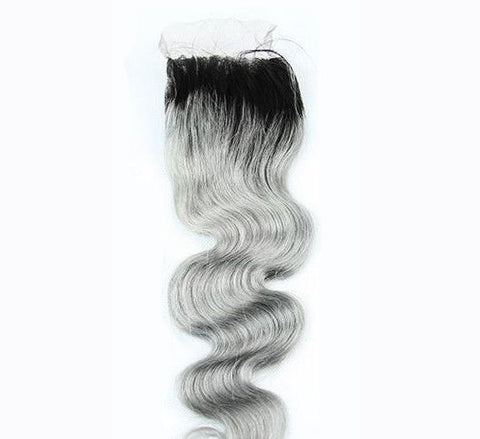 Closure - Dark Root & Grey 4*4 Body Wave Lace Closure