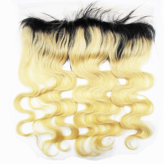 Closure - Lace Frontal 13''x4'' With Black Root,Blonde Wavy Virgin Hair Piece Ear To Ear