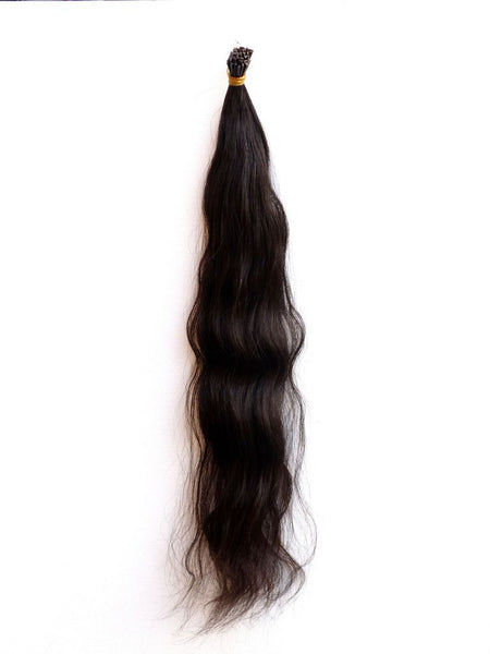 I-TIP - European Virgin Remy Human Hair, Pre-Bonded ITips, 18, Natural Black, Wavy, Superior
