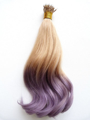 Nano - European Ombre Virgin Remy Human Hair, Nano Tip, Straight, 14'' Colours 16 To Lilac Grey