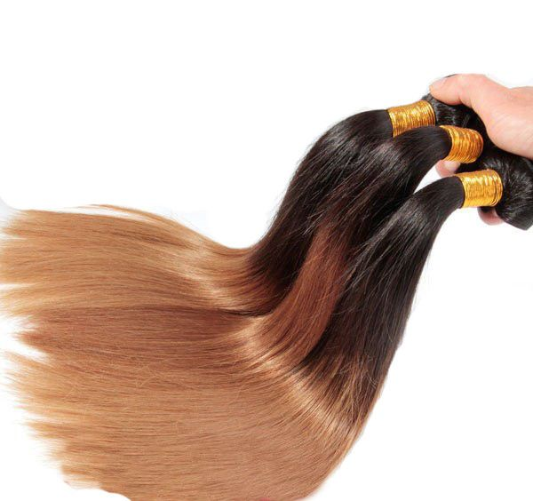 Weave - 1B#/4#/27# Ombre Hair Extensions 3 Tone Straight Hair Weaves