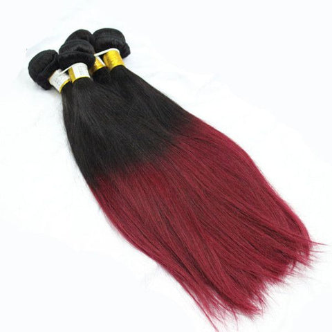Weave - 1B#/99j Ombre Hair Extensions 2 Tone Straight Hair Weaves