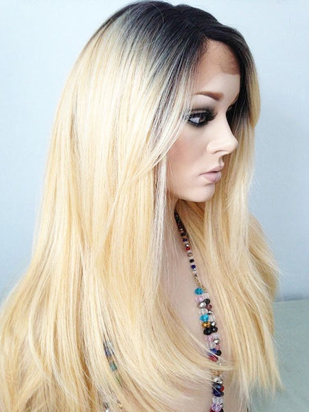 Ombre Platinum Blonde Human Hair Lace Front Wig 1b 613