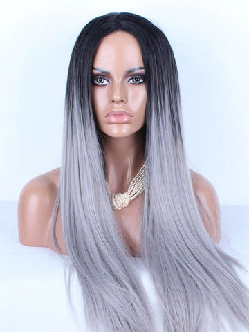 Wig - Ombre Platinum  Human Hair Wig 1B/Grey Straight
