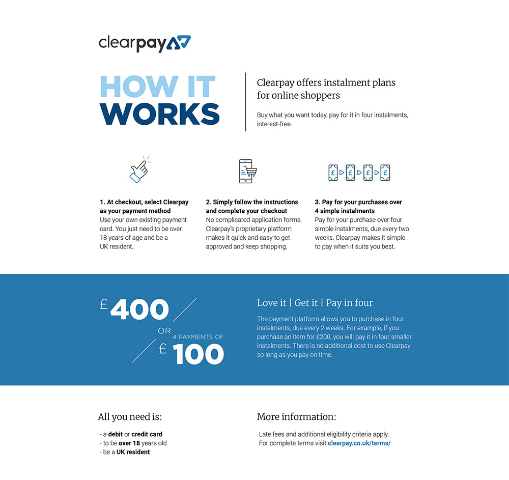 Clearpay - now available at Cyberdog