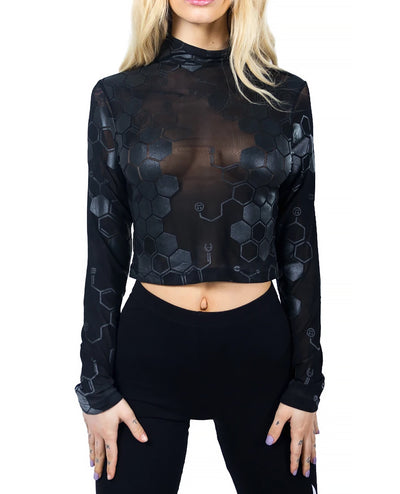ANTIMATTER MESH L/S CROP TOP by Cyberdog - Rave clothing, festival fashion & clubwear.