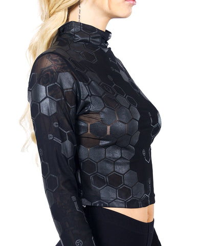 ANTIMATTER MESH L/S CROP TOP