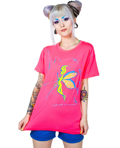 GIRLS EASY TEE I BELIEVE IN UNICORNS