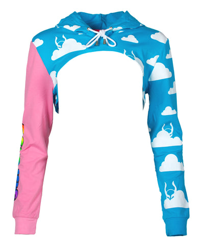 SUPER CROP HOODIE CLOUD PLAI by Cyberdog - Rave clothing, festival fashion & clubwear.