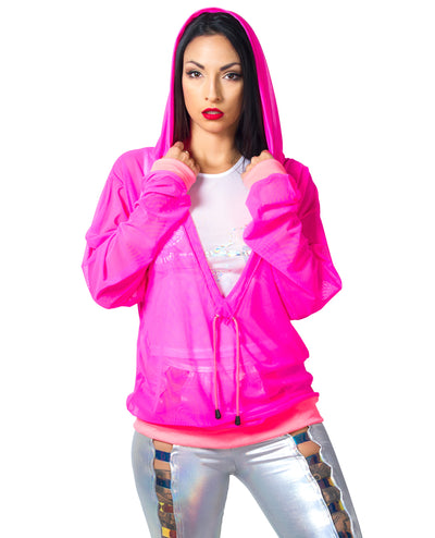 DEEP V MESH HOODY by Cyberdog - Rave clothing, festival fashion & clubwear.