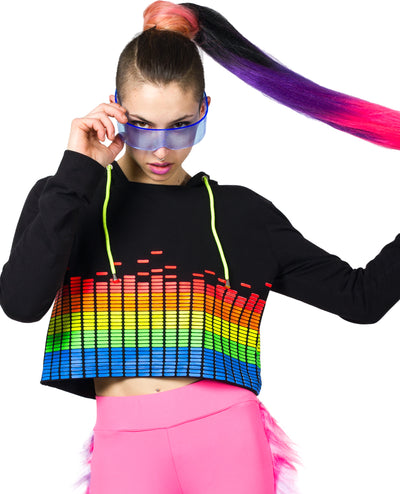 GIRLS EQUALIZER CROP L/S TOP by Cyberdog - Rave clothing, festival fashion & clubwear.