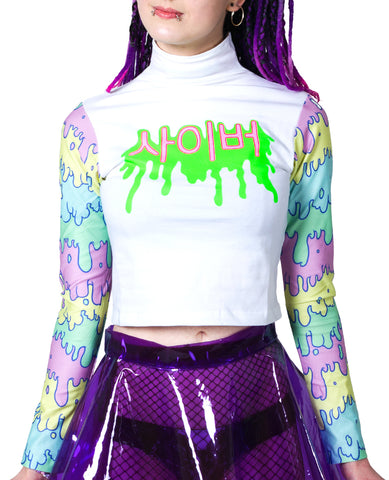 HIGH NECK L/S CROP TOP K-POPISCLE