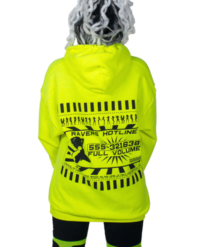 OVERSIZE RAVERS HOTLINE HOODY by Cyberdog - Rave clothing, festival fashion & clubwear.