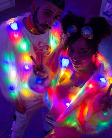 LED CROP FUR JACKET
