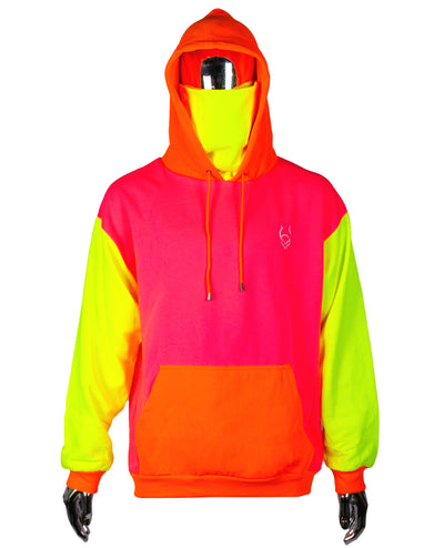 MASK HOODIE MULTINEON by Cyberdog - Rave clothing, festival fashion & clubwear.